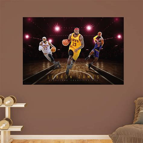 nba wall murals lebron montage mural wall decal shop fathead 174 for
