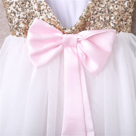 Dress Import 13028 Flower sequins baby flower dress bow backless gown bridesmaid dresses ebay