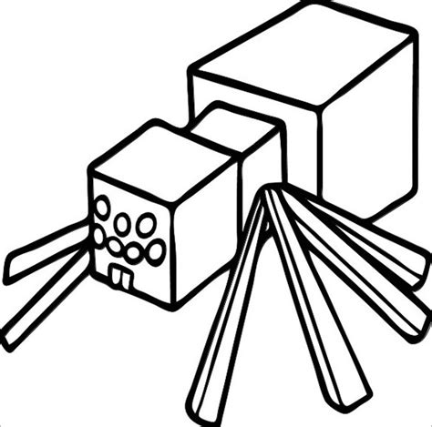 coloring pages of minecraft stylongnose printable spider minecraft colouring template jpg 585 215 580