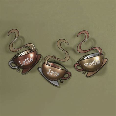 Coffee Cup Wall Decor coffee house cup mug latte java mocha metal wall home