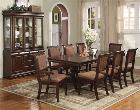 Merlot 9 Piece Formal Dining Room Furniture Set Pedestal Dining Room Sets At Furniture