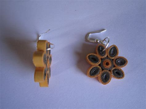 How To Make Paper Earrings Water Resistant - handmade jewelry paper quilling flower earrings orange