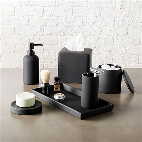 bathroom products rubber coated black bath accessories cb2