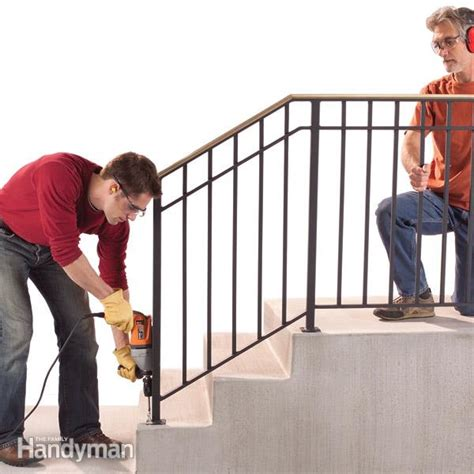 outdoor banister railing safety first install an outdoor staircase railing the family handyman