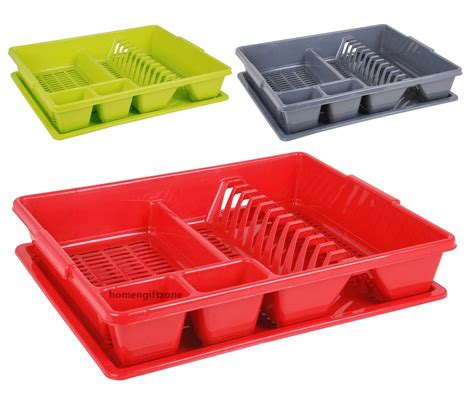 Dish Rack With Drainer Tray by Plastic Large Dish Drainer Drip Tray Cutlery Kitchen Sink