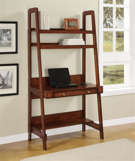 ladder desk with drawer dorel home furnishings platform mahogany wood veneer