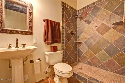 rustic bathroom flooring rustic full bathroom with pedestal sink in glendale az