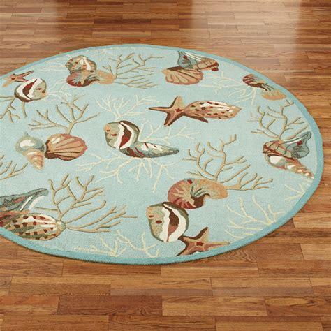 seashore rugs coral hooked seashell area rugs
