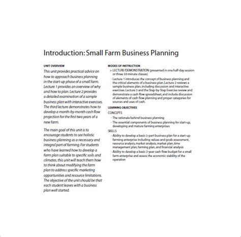 farm business plan template 13 free word excel pdf