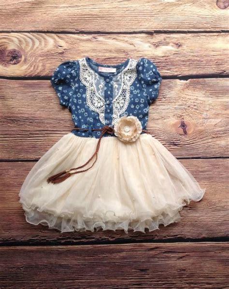 Dress Cool Denim Flower navy ivory toddler tutu dress vintage dress