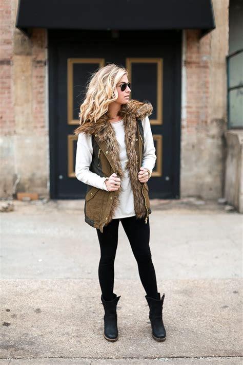 faux fur military vest fur vest outfit