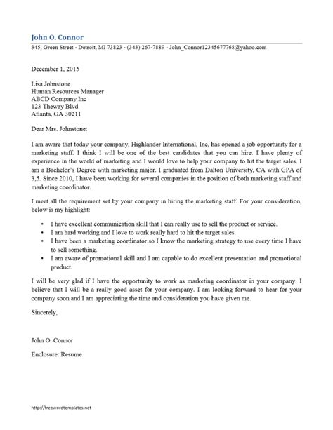 Sle Cover Letter Application Marketing Manager sle of application letter for staff 28 images sle