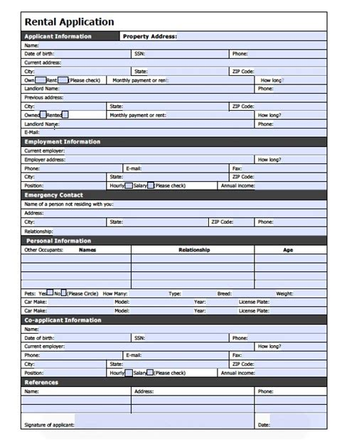 renters application template apartment rental application form