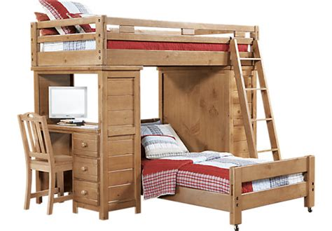 bunk beds at rooms to go creekside taffy student loft bed w desk with chest bunk loft beds light wood