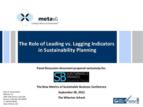 Of Carolina Mba In Sustainable Enterprises by The Of Leading Vs Lagging Indicators In