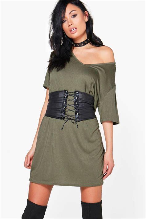 elyse corset belt 2 in 1 v neck t shirt dress at boohoo