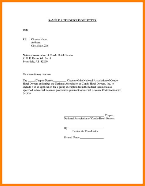 authorization letter format for company representative authorization letter format for company representative
