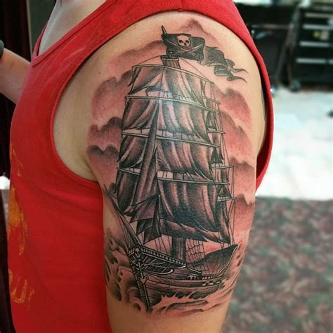 pirate ship sleeve tattoo designs pirate ship