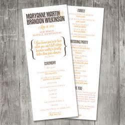 wedding program sizes modern merriment wedding program by pinklilypress on etsy