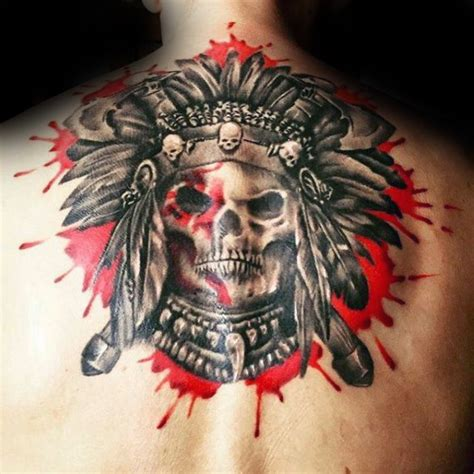red skull tattoo american indian chief skull skulls skeletons