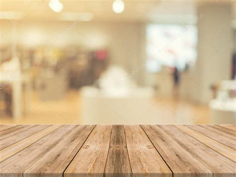 on table wooden board empty table blurred background perspective