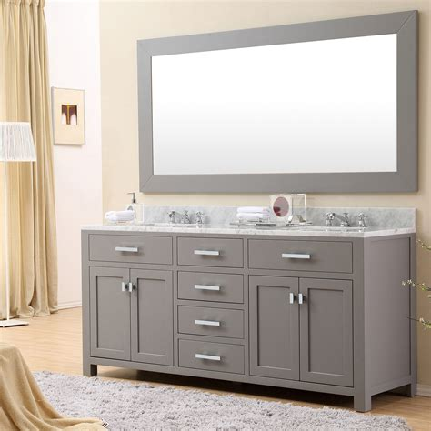 Daston 72 inch Gray Double Sink Bathroom Vanity, Carrara