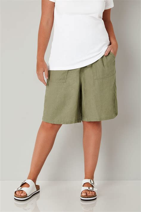 Pot Tawon No 27 khaki linen mix pull on shorts with pockets plus size 16