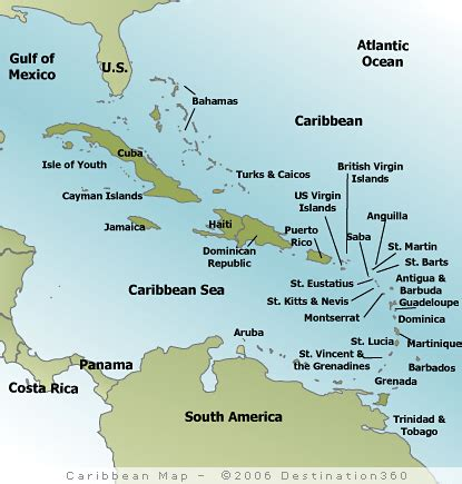 map of caribbean islands st caribbean