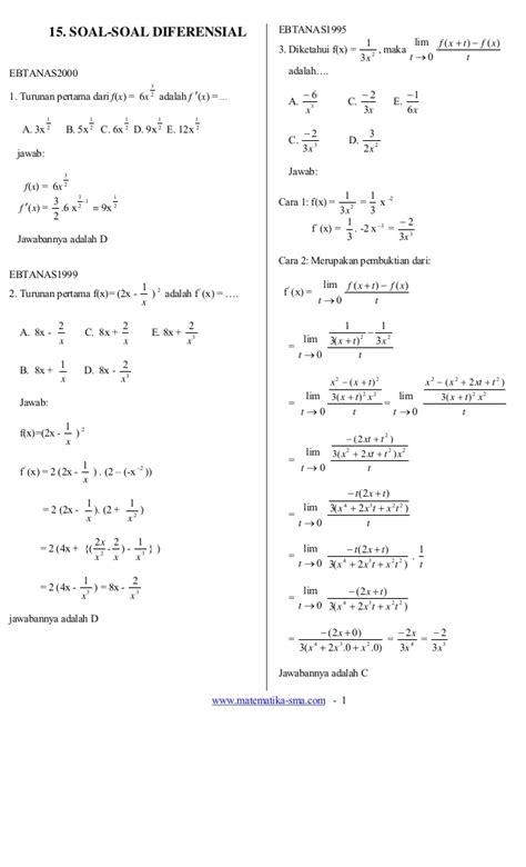 Persamaan Diferensial Biasa 15 soal soal diferensial