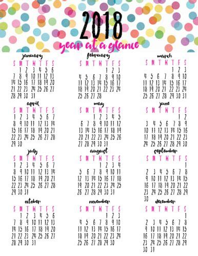 printable calendar year at a glance 2018 free printable year at a glance calendar for 2018