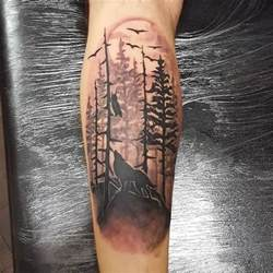 black roaring wild wolf forest tattoo design with behind moon