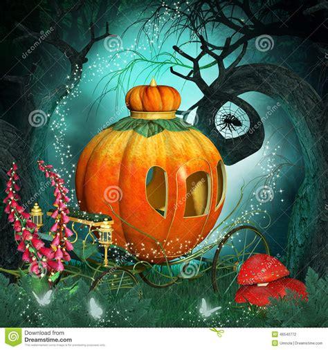 magical background  pumpkin carriage  creepy trees