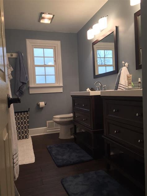 Blue Gray Bathroom Ideas These Blue Gray Walls Paint Color Wall Ovation By Behr Marquee Eggshell Trim Bakery Box
