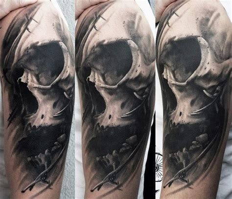 realistic skull tattoo by u gene tattoo no 12439