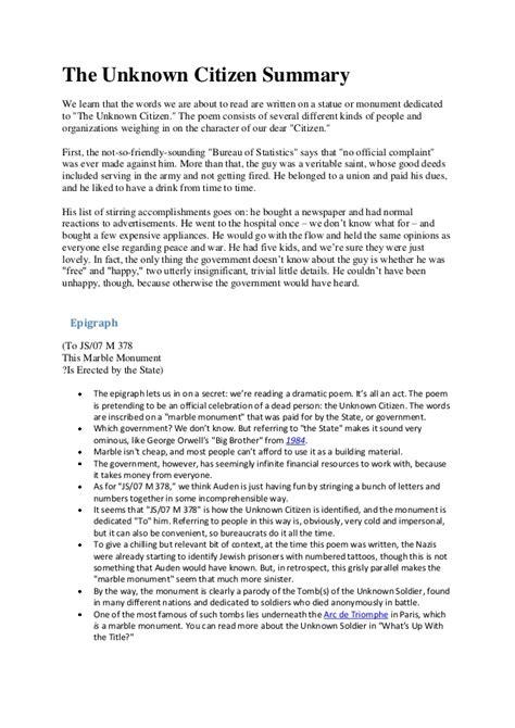 Citizen Analysis Essay by The Unknown Citizen Essay Essays On The Unknown Citizen By W H Auden The Unknown Citizen Essay