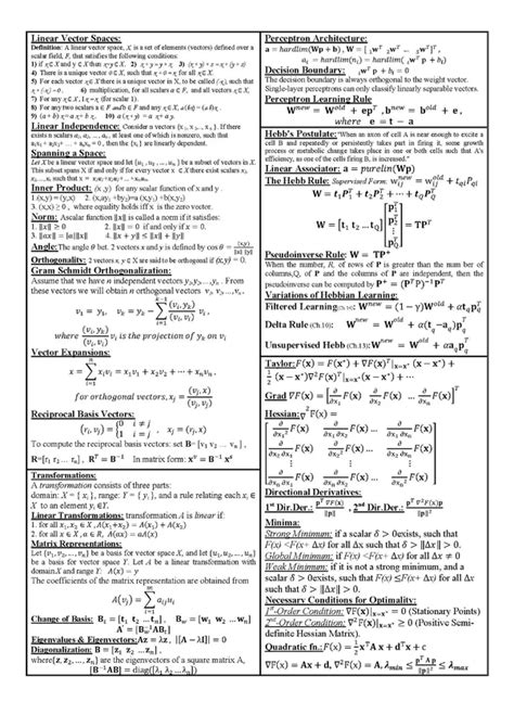 What is the best linear algebra cheat sheet for machine