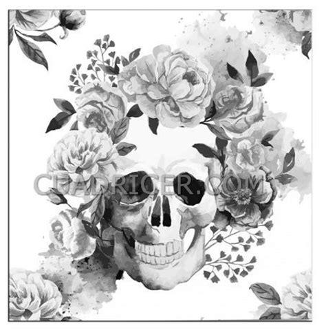 imagenes de calaveras a blanco y negro calavera flores adorno craneo fllores gris 2223 cuadro