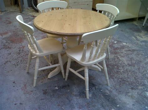 shabby chic cream white round pine pedestal table and 4