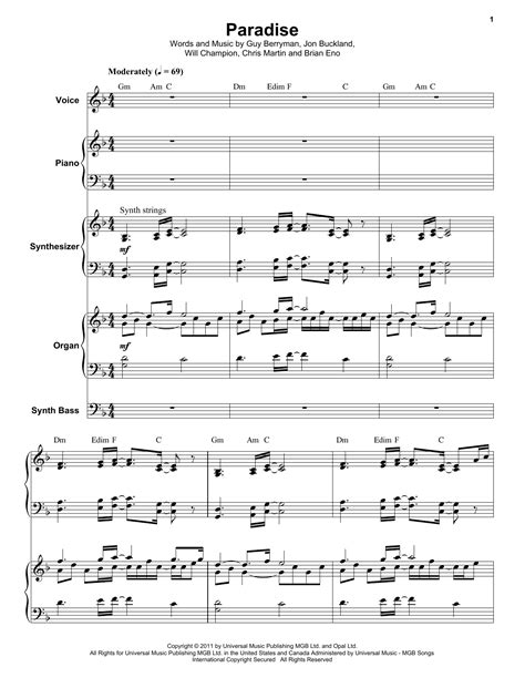 sheet music paradise paradise sheet music by coldplay keyboard transcription