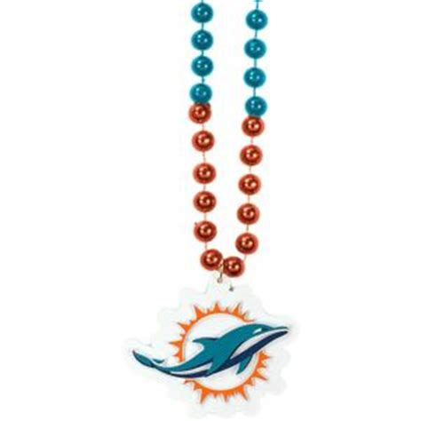 miami dolphins pendant bead necklace 36in city
