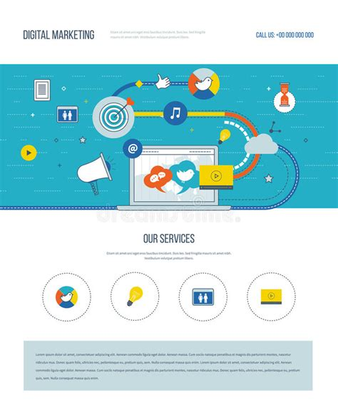One Page Web Design Template Of Digital Marketing Social Network Stock Vector Illustration Social Network Website Design Template