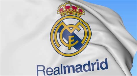 up of waving flag with real madrid c f football