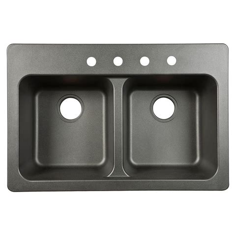 Fiberglass Kitchen Sinks Franke Dual Mount Tectonite Composite 33x9x22 4 Basin Kitchen Sink In Black Ftb904bx