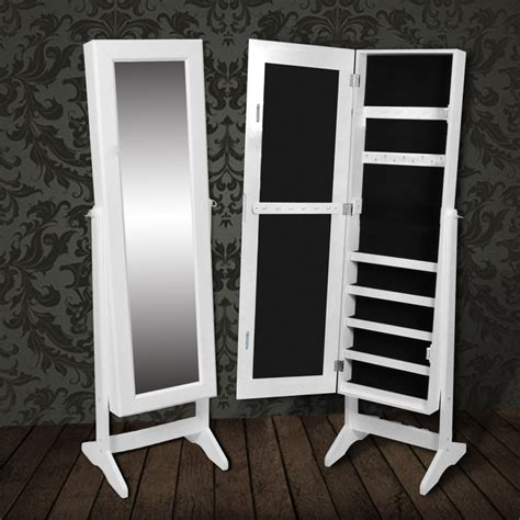 Standing Mirror With Jewelry Cabinet by White Free Standing Mirror Jewelry Cabinet Vidaxl