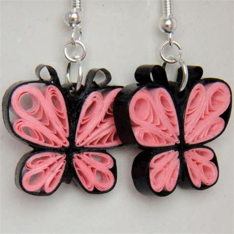 Handmade Paper Quilling Earrings - pink butterfly earrings paper quilled handmade 20