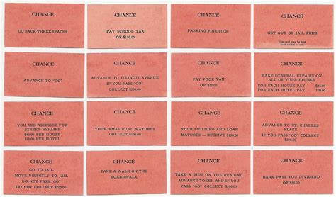 monopoly chance cards template original monopoly chance cards www pixshark images