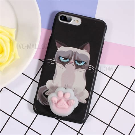 Casing Iphone 7 Squishy Cat Squeeze Soft Silicone squishy 3d soft silicone cat claw cat pattern printing tpu squishy phone for iphone 7 plus