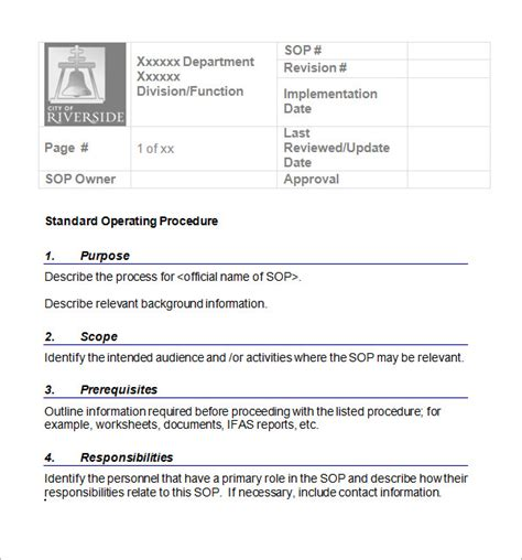 Sop Templates sle sop template 20 free documents in word pdf excel