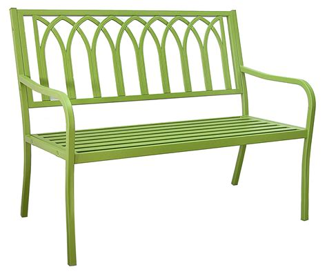 green metal bench patio furniture bench steel lakeside urban green