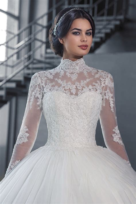 vnaix w3058 see though long sleeves ball gown wedding